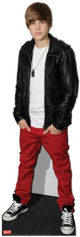 cardboard cutout of justin bieber in black leather jacket